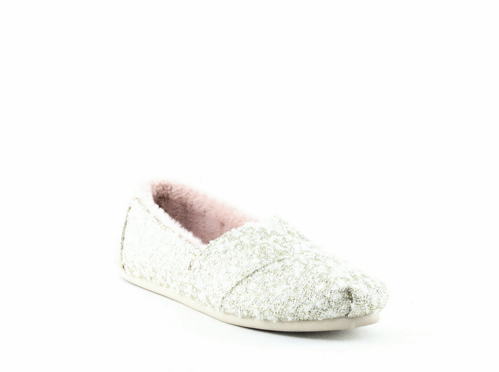 Yieldings Discount Shoes Store's Classic Slip-Ons by Toms in Gold Woven/Crackle Metallic