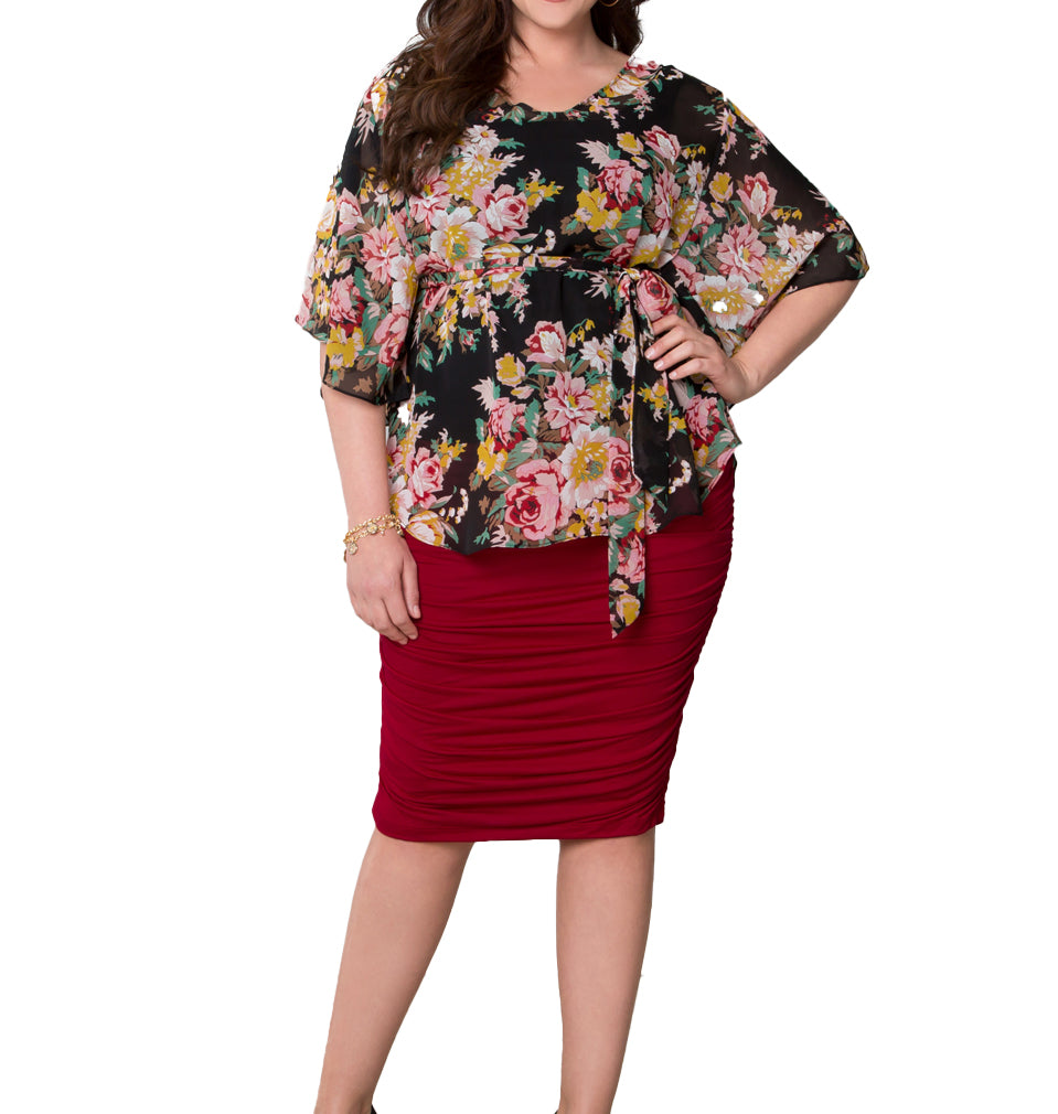 Yieldings Discount Clothing Store's Riley Ruched Skirt by Kiyonna in Red