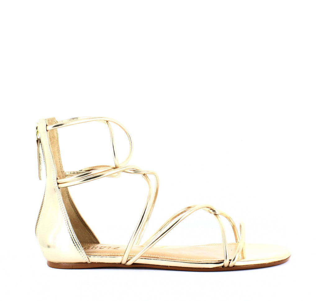 Yieldings Discount Shoes Store's Fabia Metallic Gladiator Sandals by Schutz in Platinum