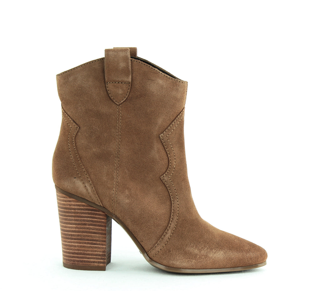 Yieldings Discount Shoes Store's Lincoln Square Western Ankle Boots by Aerosoles in Tan Suede