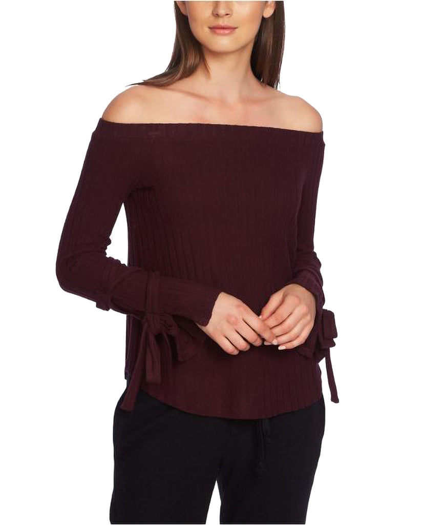 Yieldings Discount Clothing Store's Cozy Off-the-Shoulder Tie-Sleeve Top by 1.State in Dark Ox Blood