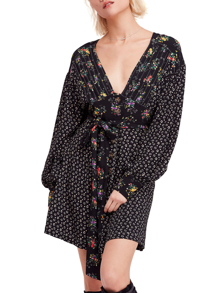 Yieldings Discount Clothing Store's Wonderland Printed a-Line Mini Dress by Free People in Black Combo