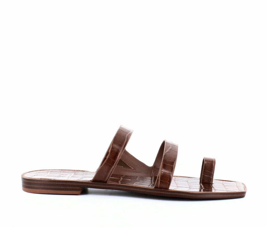Yieldings Discount Shoes Store's Isala Flat Sandals by Dolce Vita in Brown Crocodile