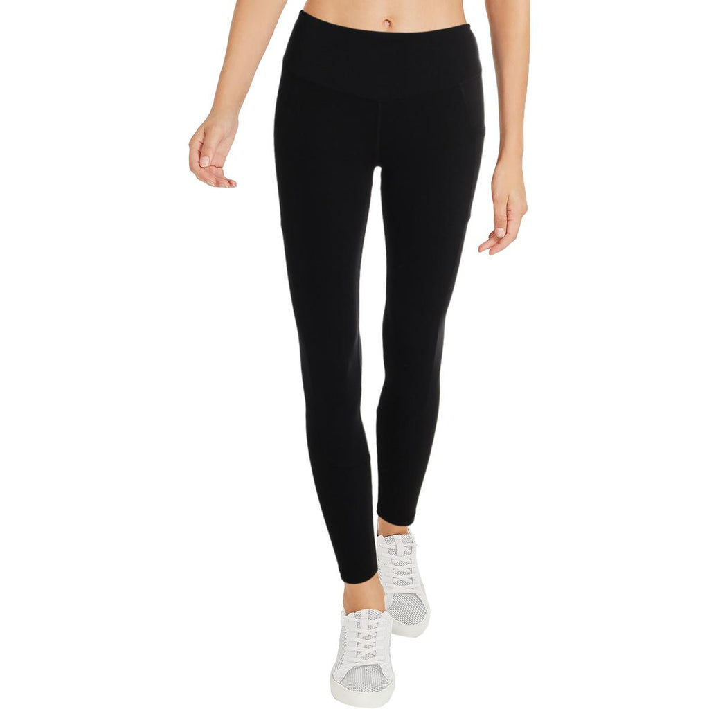 Yieldings Discount Clothing Store's High Waist Yoga Athletic Leggings by Aqua in Black
