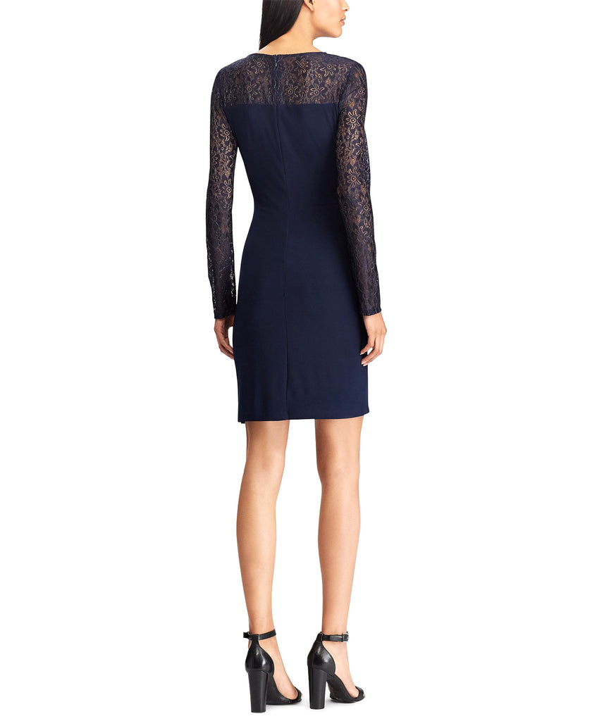Yieldings Discount Clothing Store's Metallic Lace Dress by American Living in Navy/Silver