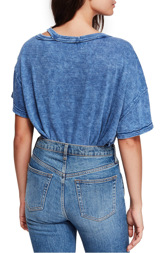 Yieldings Discount Clothing Store's Alex Cutout Tee by We The Free By Free People in Blue Lagoon