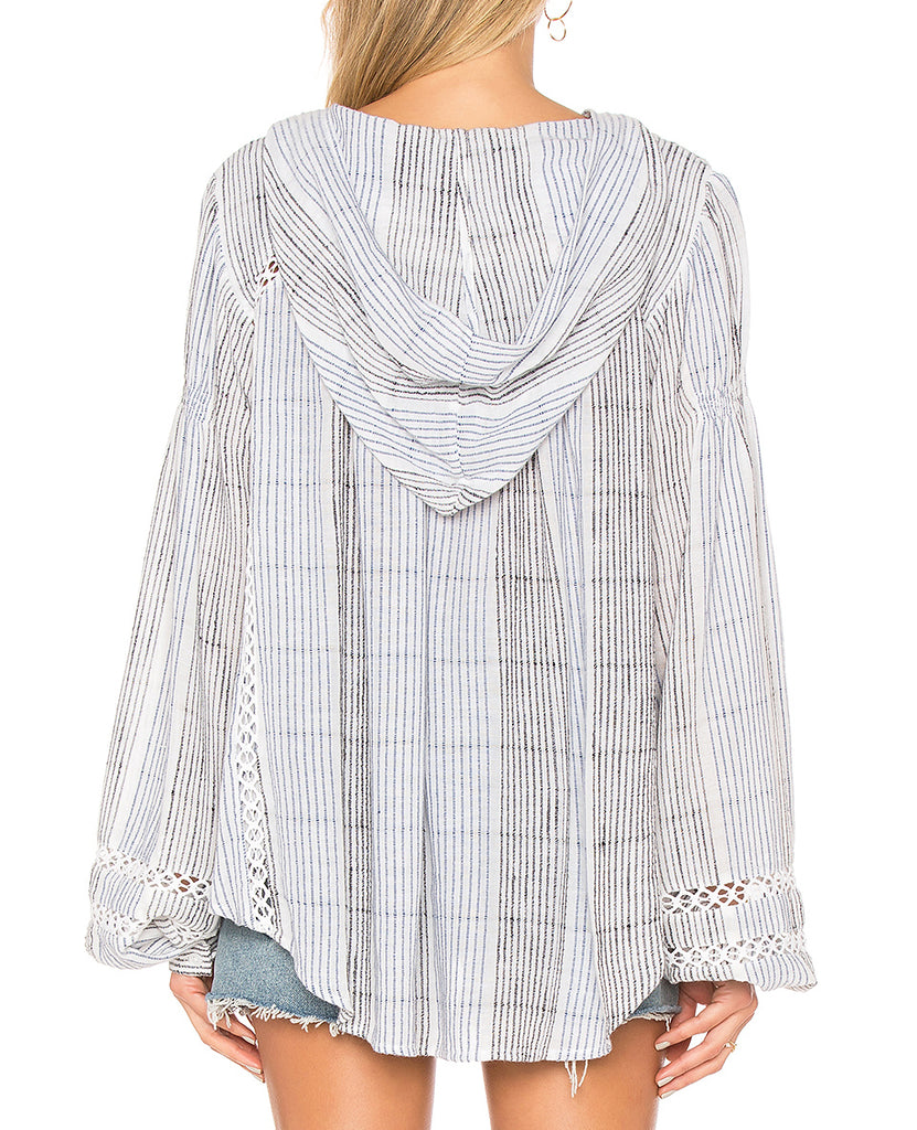 Yieldings Discount Clothing Store's Baja Babe Striped Pullover by Free People in Blue