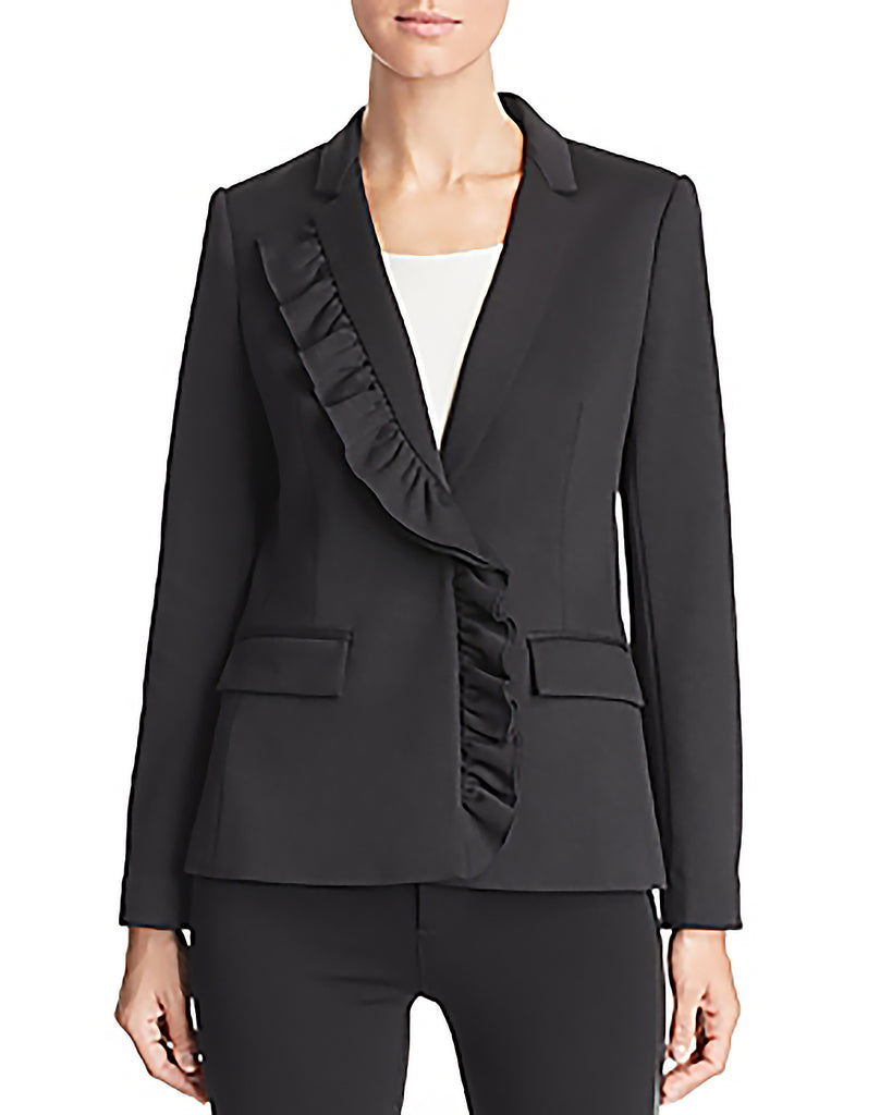 Yieldings Discount Clothing Store's Kiara Asymmetric Ruffle Blazer by Le Gali in Black