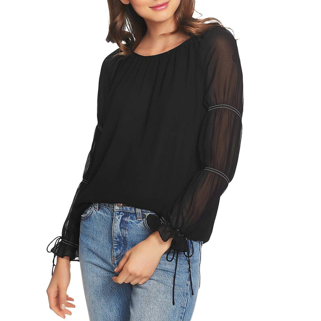Yieldings Discount Clothing Store's Boy Meets Girl Long Sleeve Blouse by 1.State in Rich Black