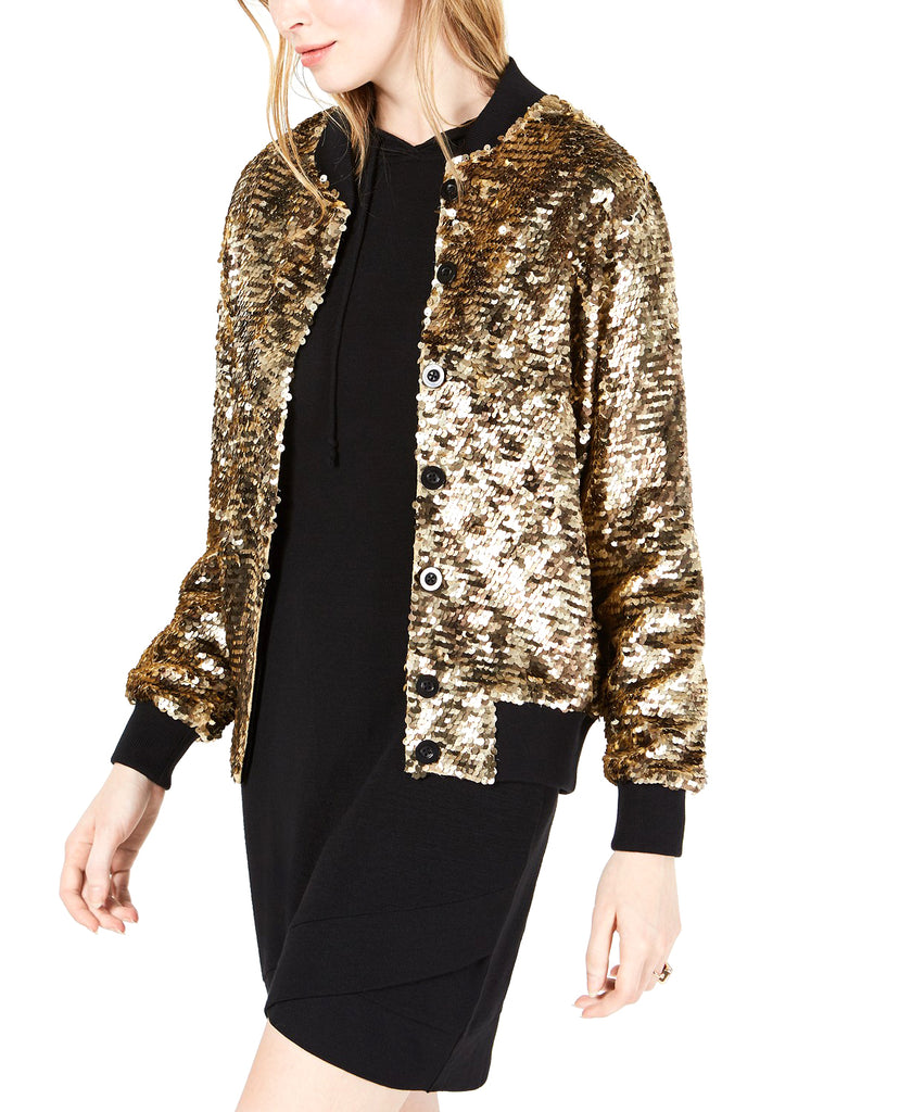 Yieldings Discount Clothing Store's Kimberly Sequin Bomber Jacket by Bl^nk in Bronze