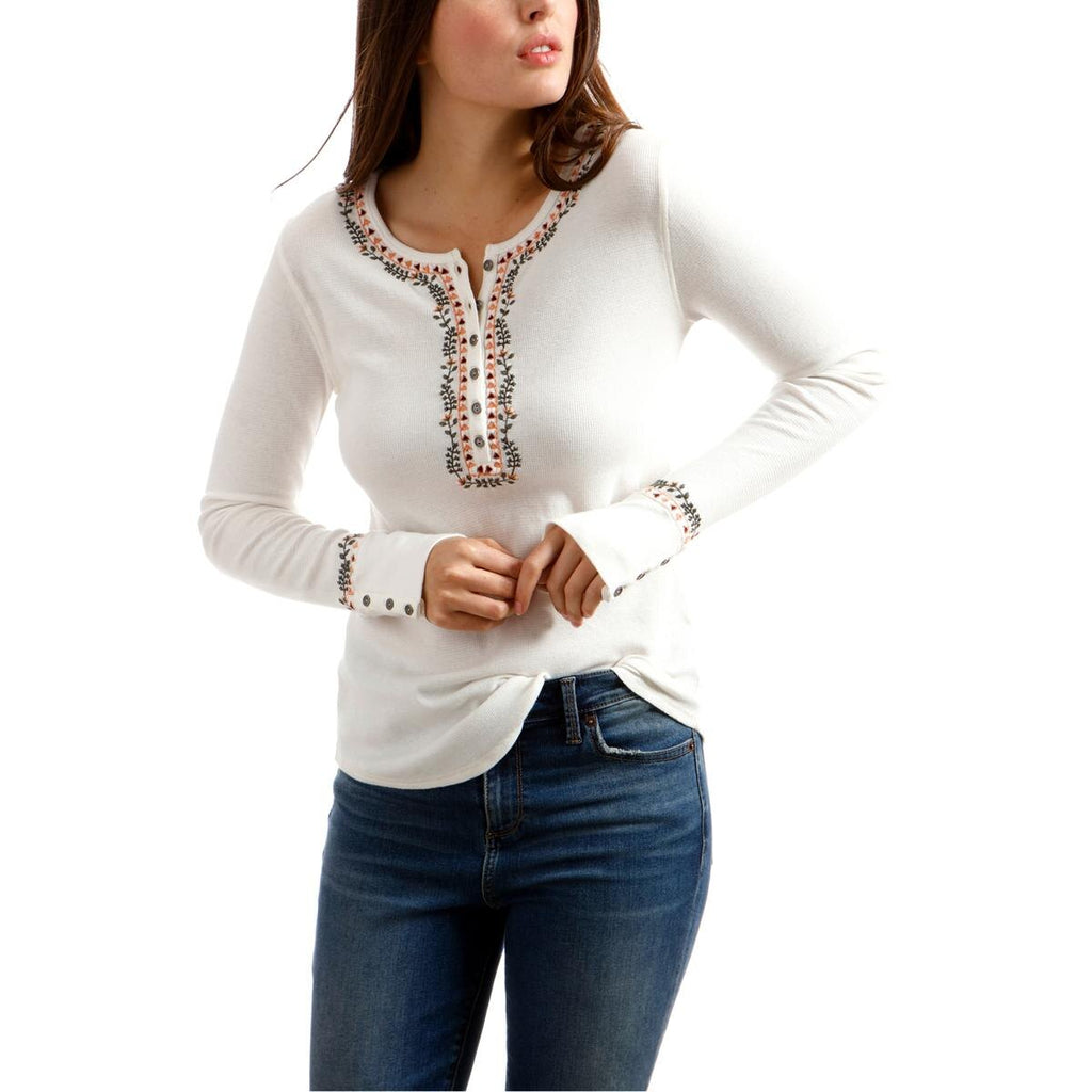 Lucky Brand | Embroidered Henley Thermal Top