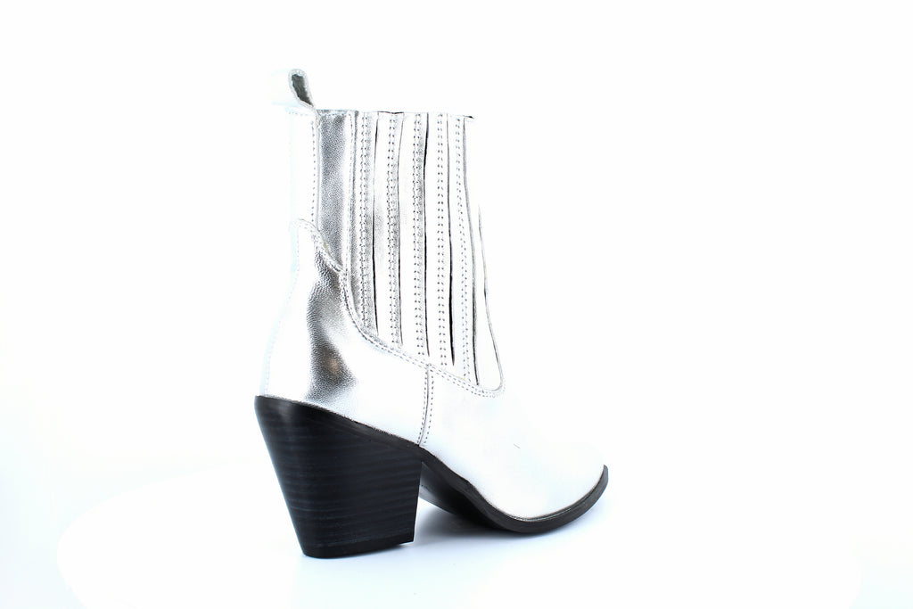 Yieldings Discount Shoes Store's Ciao Pointed Toe Booties by Aqua in Silver