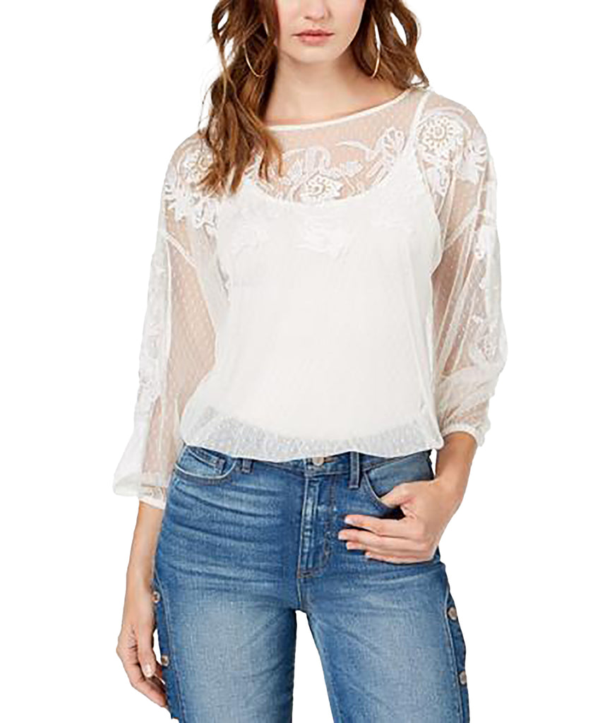 Yieldings Discount Clothing Store's LS Luna Top by Guess in Cream White