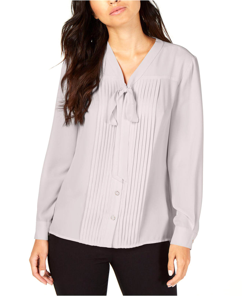 Yieldings Discount Clothing Store's Bow-Neck Button-Front Blouse by Anne Klein in Bolshoi Grey