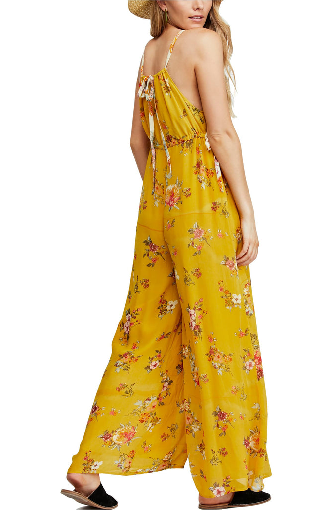 Yieldings Discount Clothing Store's Georgia Sleeveless Wide Leg Jumpsuit by Free People in Gold Combo