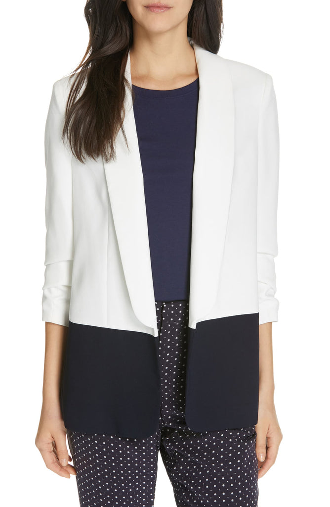 Yieldings Discount Clothing Store's Lollasa B Colorblock Jacket by Joie in Porcelain Midnight