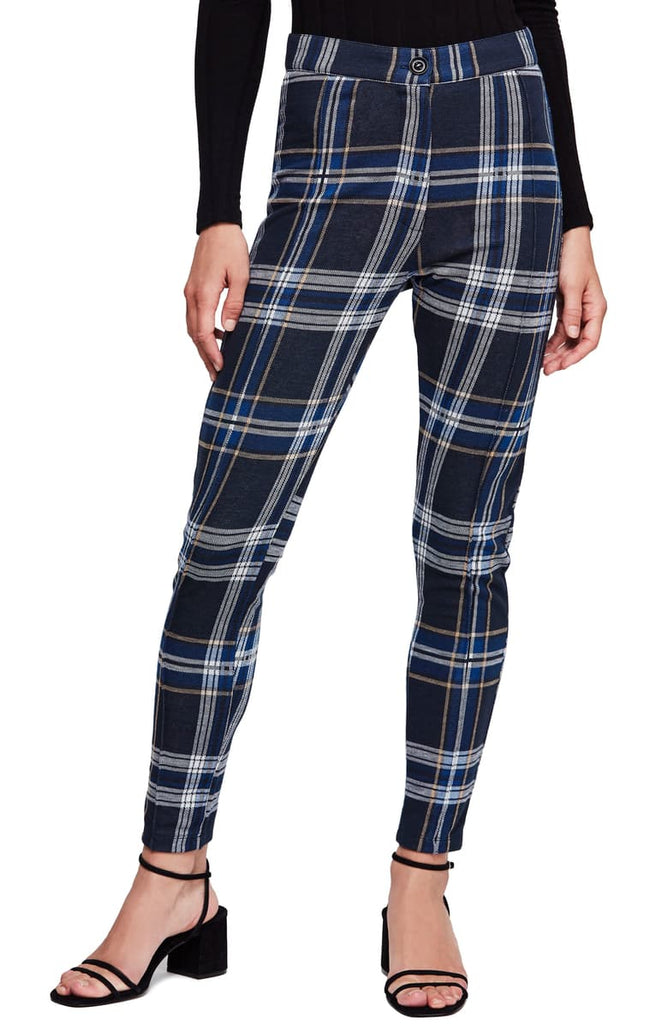 Yieldings Discount Clothing Store's Plaid Skinny Pants by Free People in Blue Combo