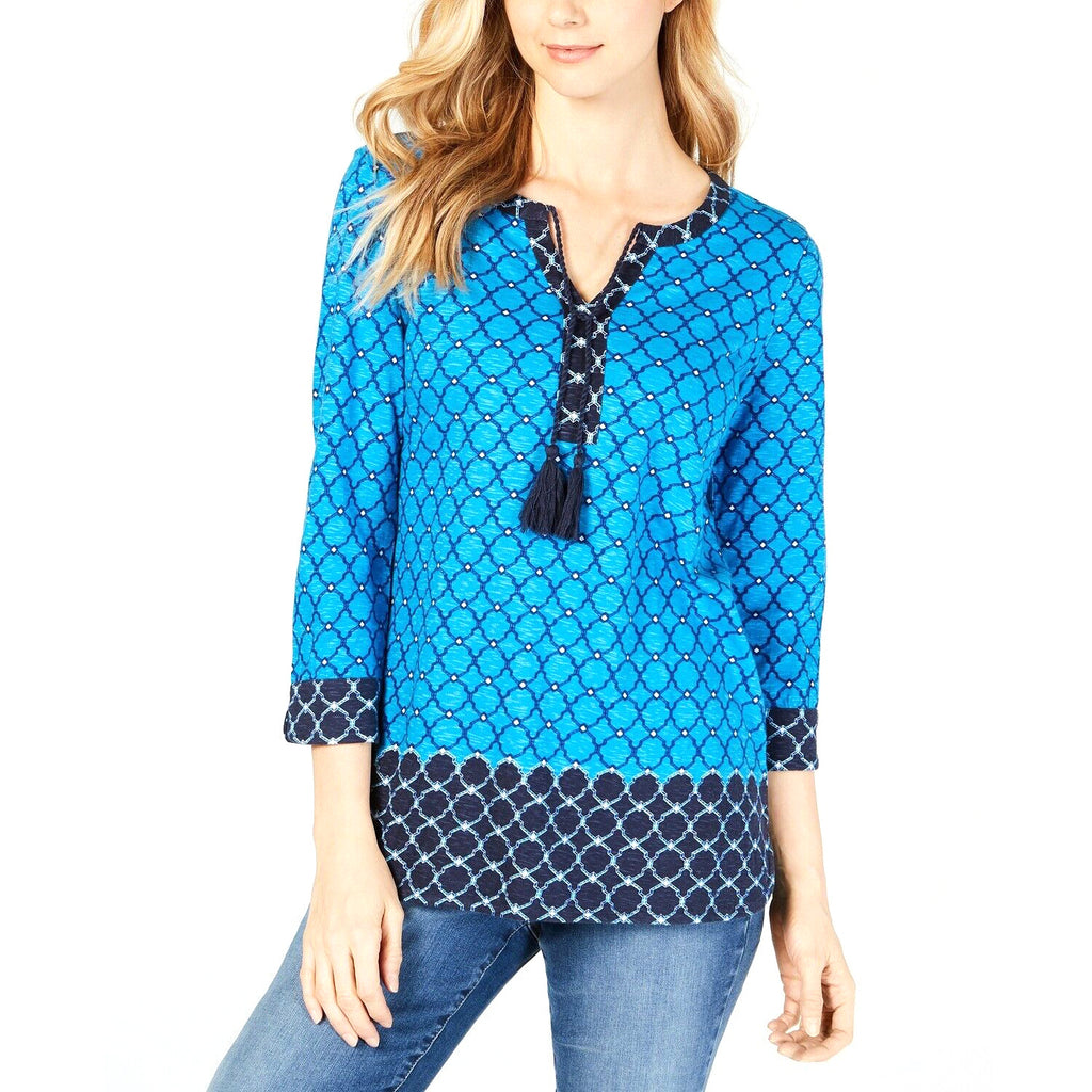 Yieldings Discount Clothing Store's Petite Tile-Print Tunic by Charter Club in Aztec Sky Combo