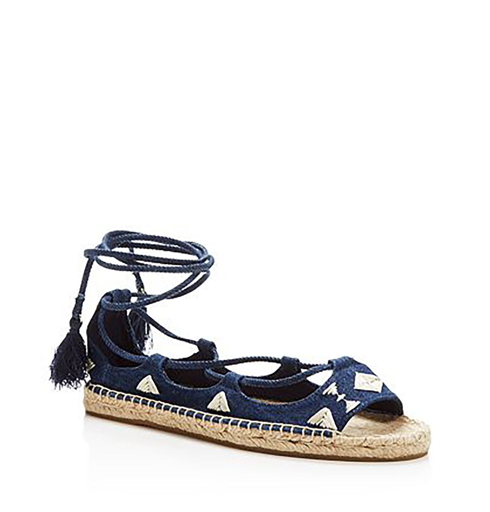 Yieldings Discount Shoes Store's Embroidered Tie Up Sandals by Soludos in Denim