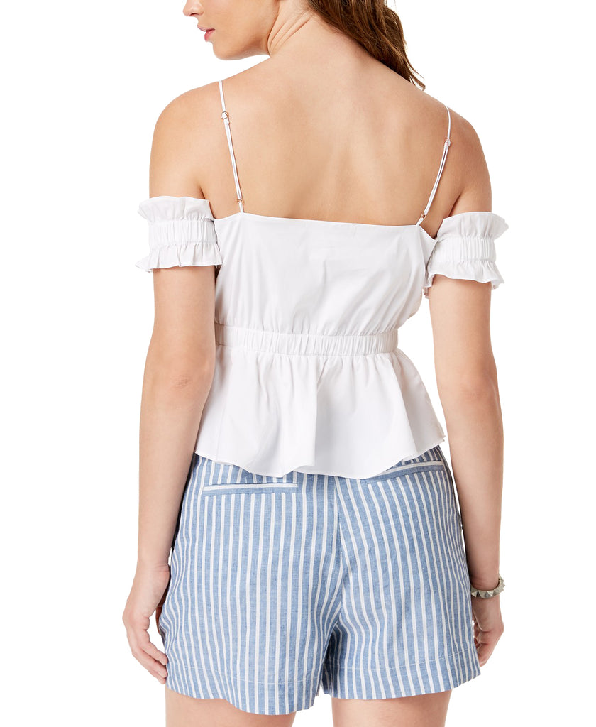 Yieldings Discount Clothing Store's Cold Shoulder Cortney Peplum Top by Guess in Pure White