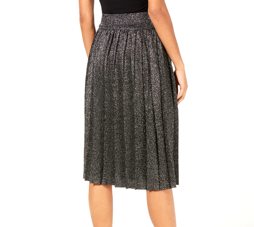 Yieldings Discount Clothing Store's Nicole Pleated Metallic Skirt by Lucy Paris in Black