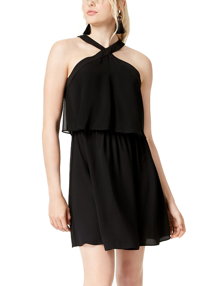 Yieldings Discount Clothing Store's Boho Sunset Crossback Short Dress by Bar III in Deep Black