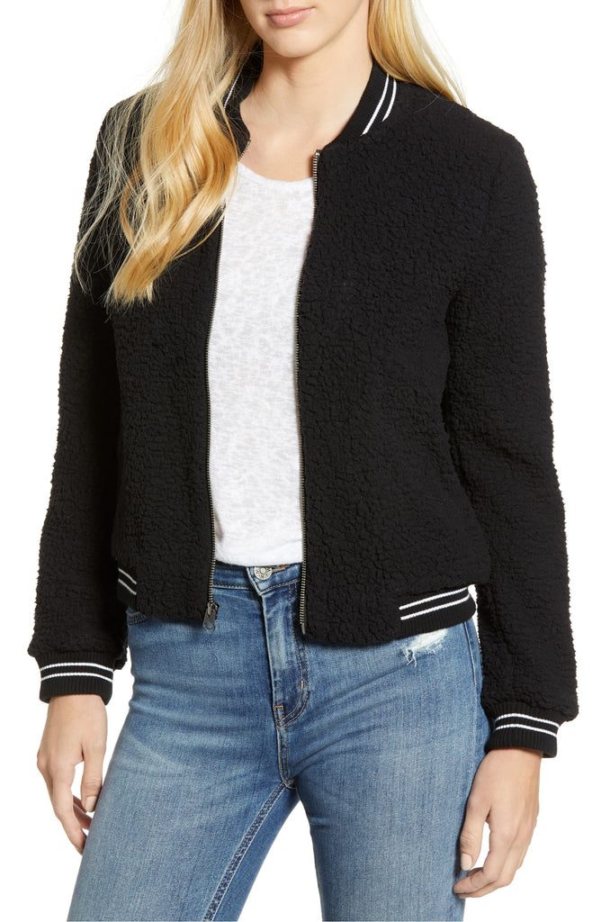 Yieldings Discount Clothing Store's Fleece Bomber Jacket by Lucky Brand in Lucky Black
