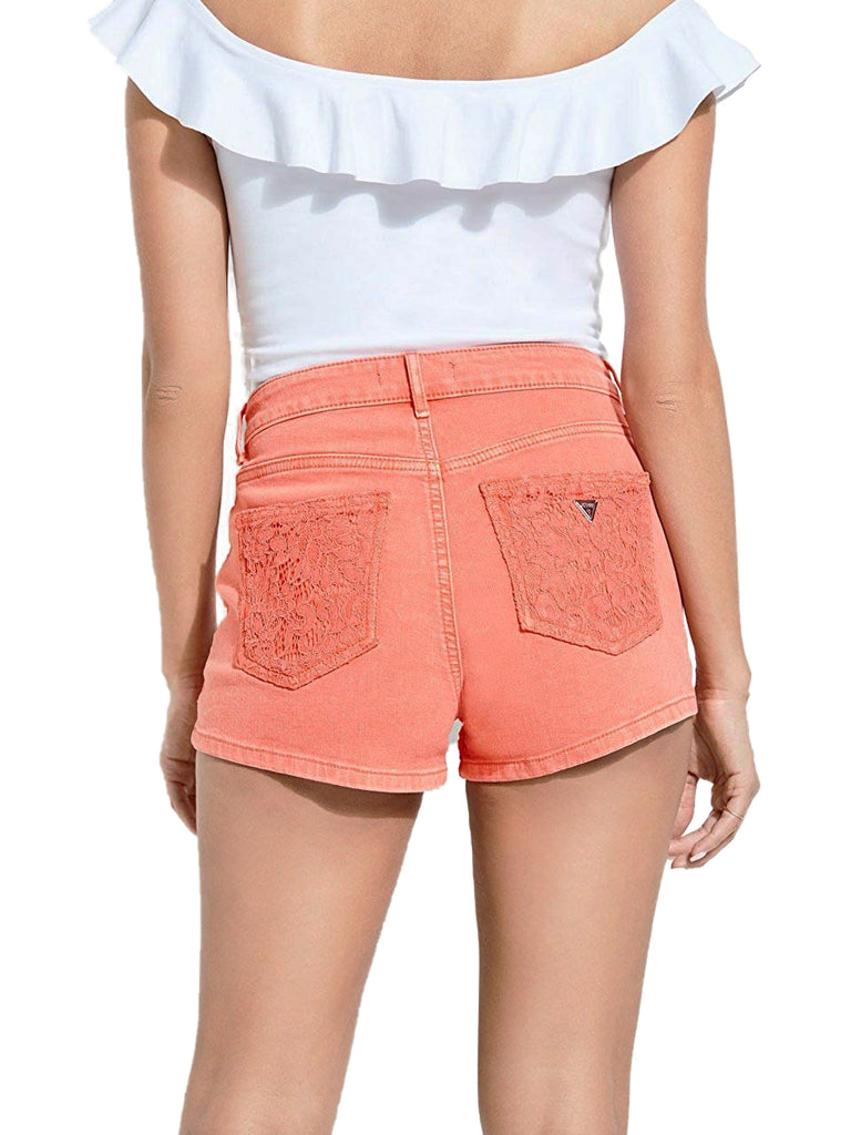 Yieldings Discount Clothing Store's Claudia Lace-Trim Jean Shorts by Guess in Blazing Coral