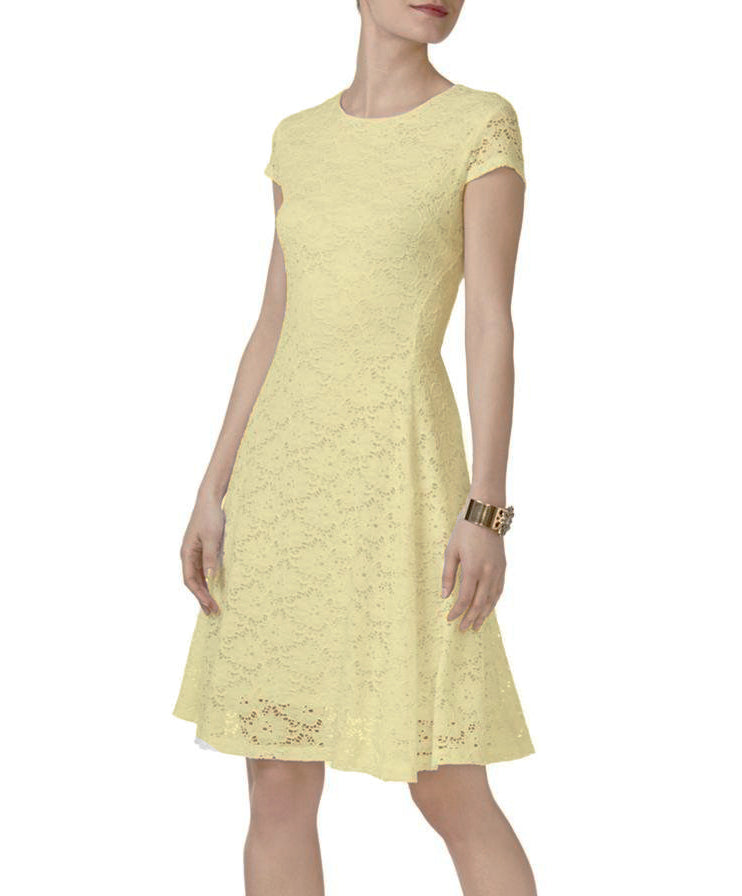 Yieldings Discount Clothing Store's Petite Lace Fit Flare Dress by Alfani in Yellow