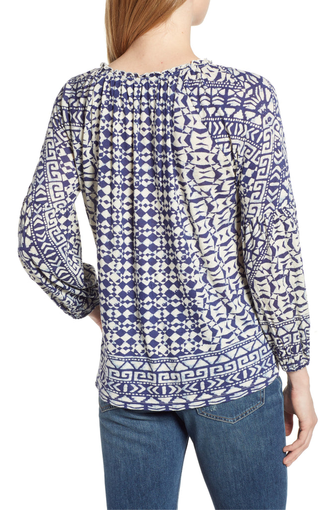 Lucky Brand | Printed and Shirred Top