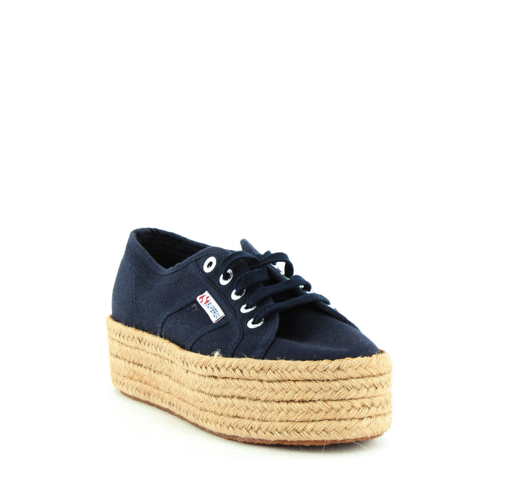 Yieldings Discount Shoes Store's Cotropew Platform Espadrille Sneakers by Superga in Navy