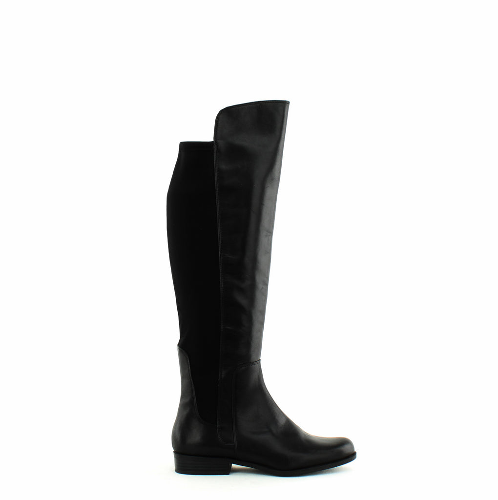 Yieldings Discount Shoes Store's Chieri Leather Lycra Over-the-Knee Boots by Bandolino in Black