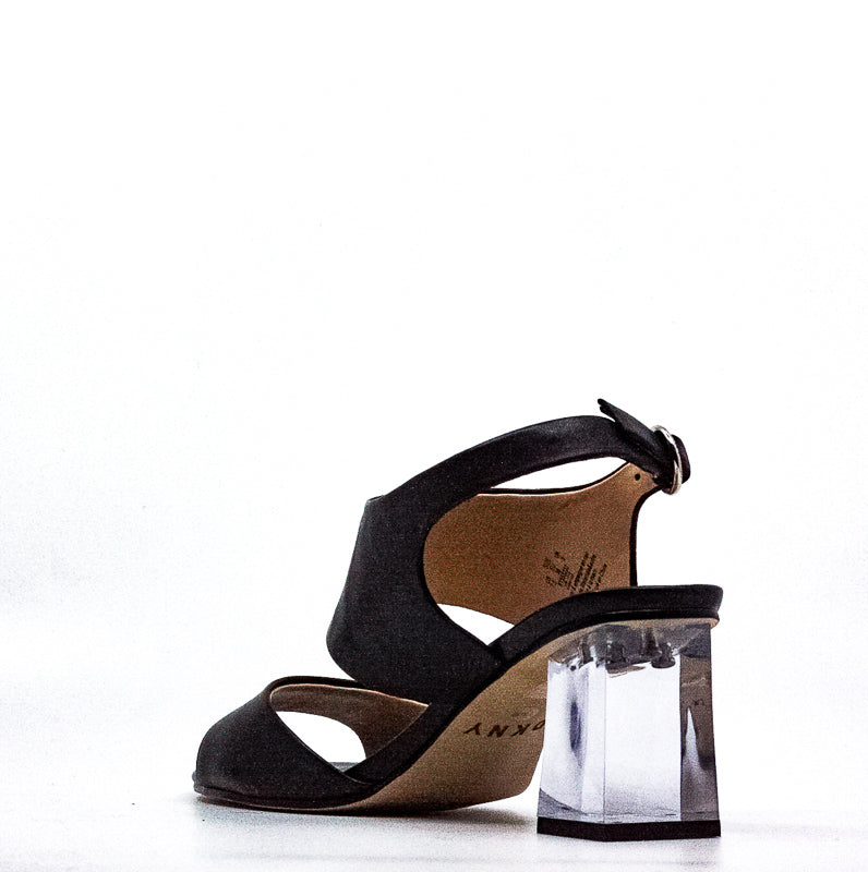 Yieldings Discount Shoes Store's Sterling Lucite Ankle Strap Leather Block Heel Sandals by DKNY in Black