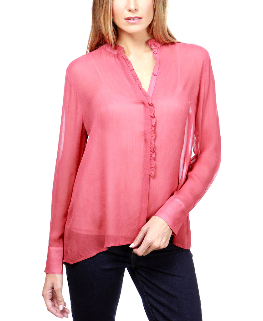 Yieldings Discount Clothing Store's Ruffle Neck Blouse by Lucky Brand in Cabernet