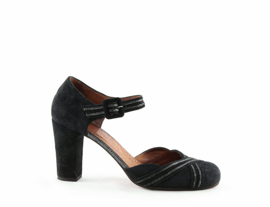 Yieldings Discount Shoes Store's Kilo Suede Block-Heel Pumps by Chie Mihara in Pizarra