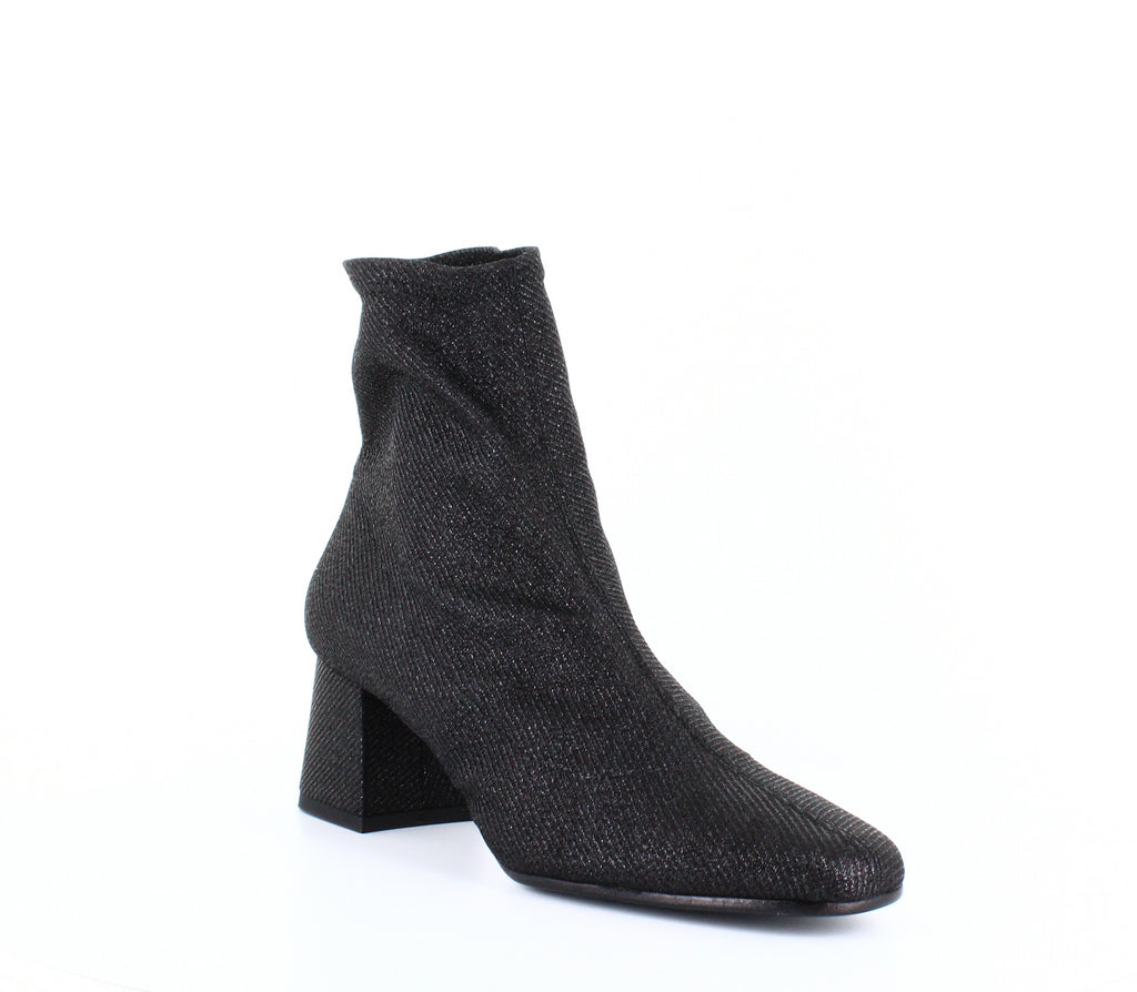 Yieldings Discount Shoes Store's Gia Stretch Glitter Booties by ASKA in Black Sparkle