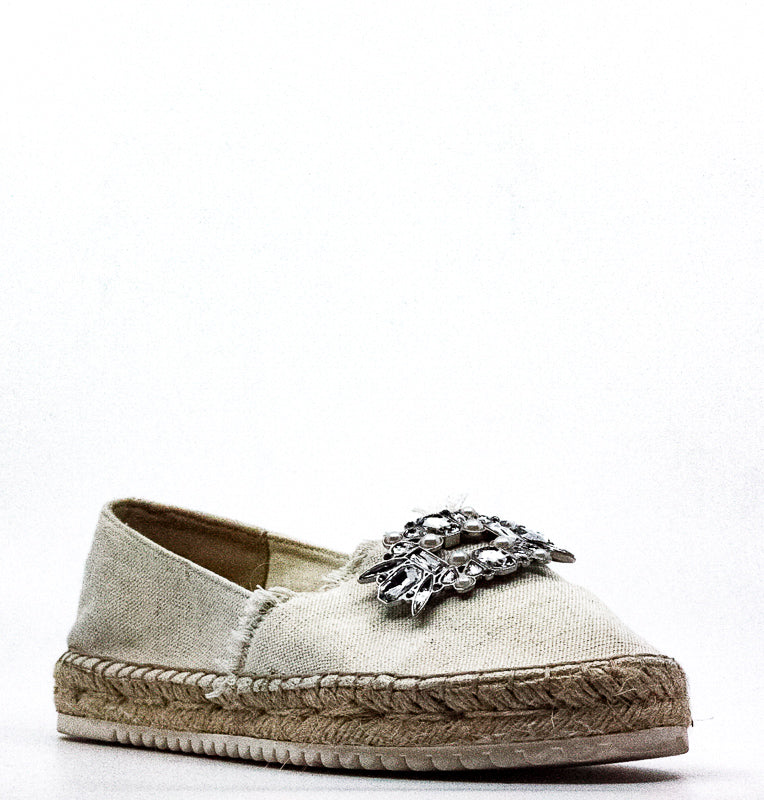 Yieldings Discount Shoes Store's Barnum Fabric Jeweled Slip-On Flats by Marc Fisher in Light Natural