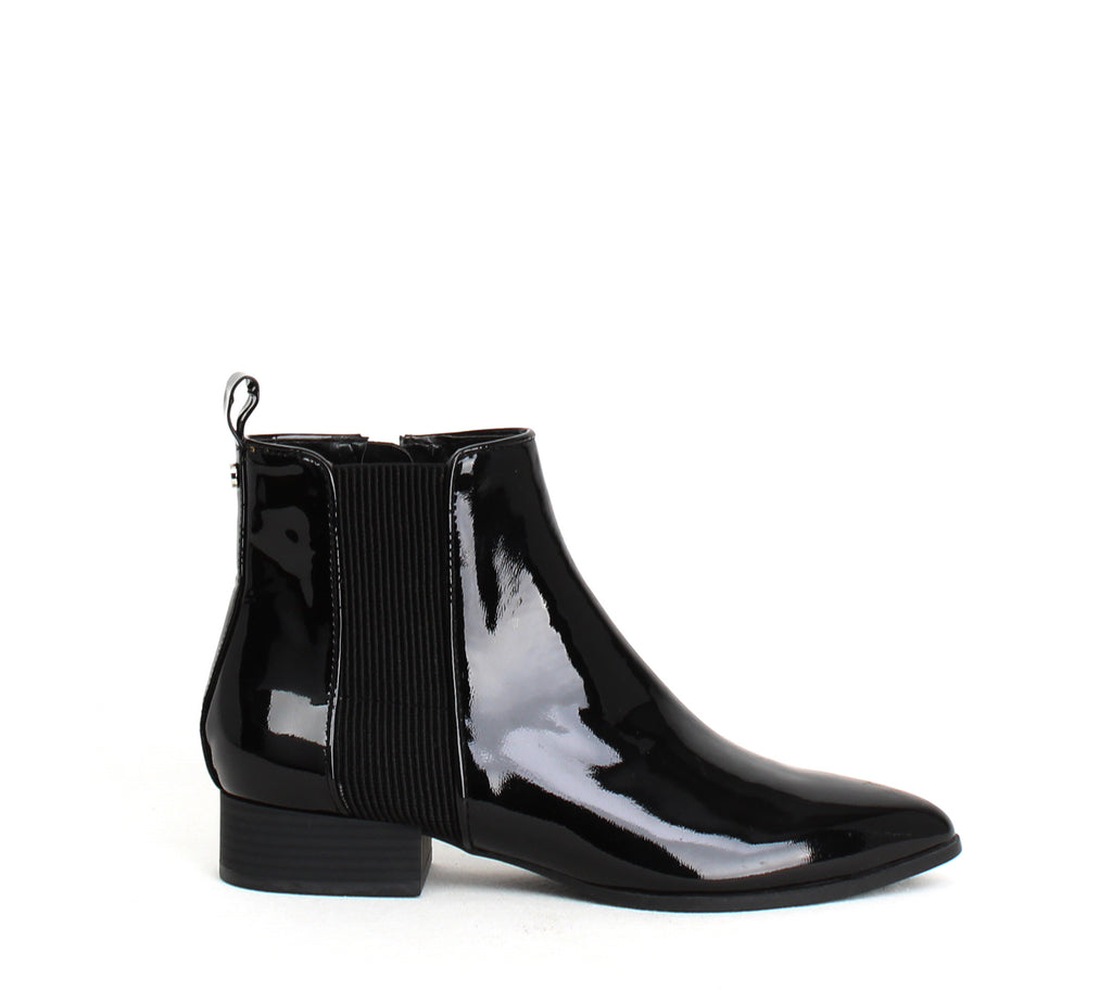 Yieldings Discount Shoes Store's Talie Chelsea Boots by DKNY in Patent Black
