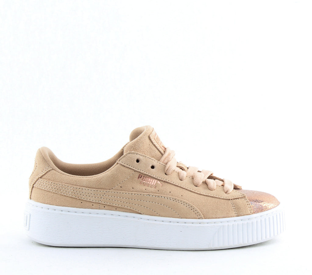 Yieldings Discount Shoes Store's Suede Platform LunaLux Sneakers by Puma in Cream/Tan