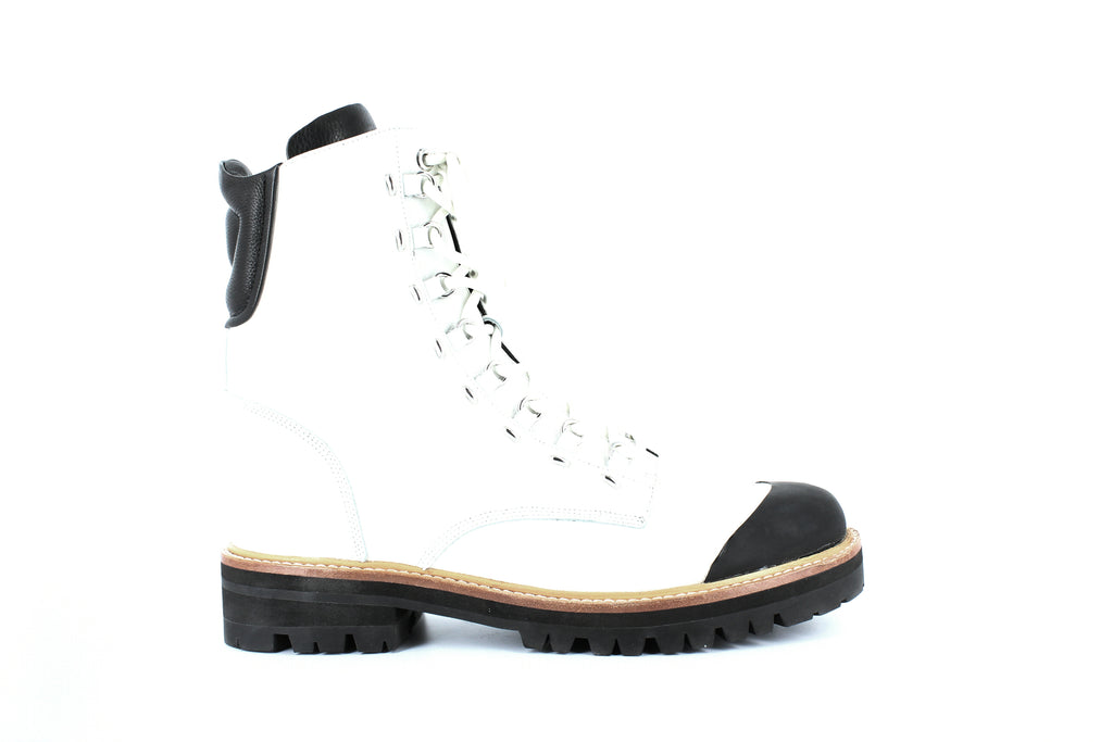 Yieldings Discount Shoes Store's Irene Round Toe Leather Boots by Sigerson Morrison in Bianco/Black