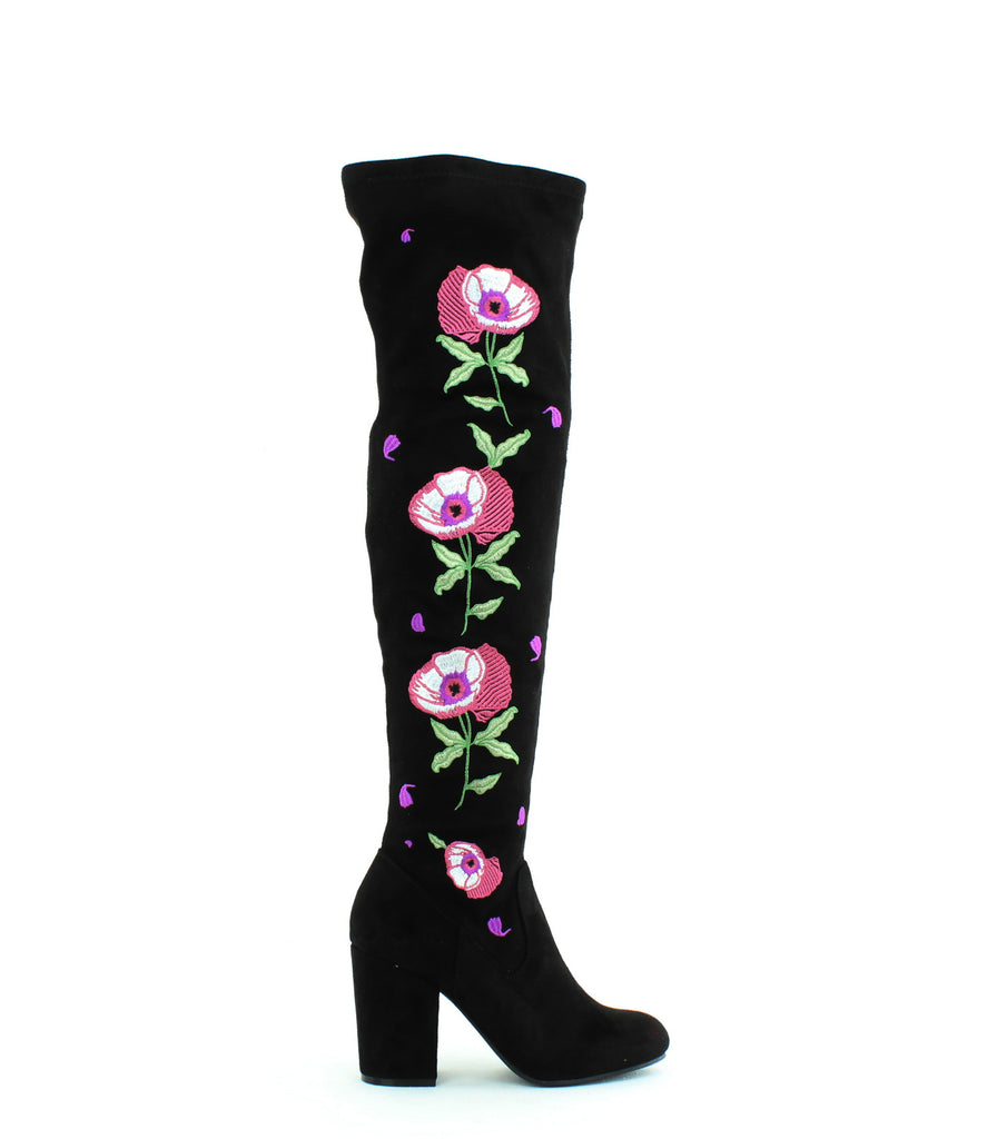 Yieldings Discount Shoes Store's Quality Embroidered Over-The-Knee Boots by Carlos by Carlos Santana in Black