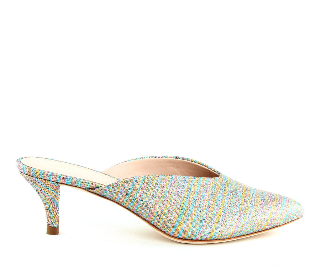 Yieldings Discount Shoes Store's Juno Kitten Heel Mule by Loeffler Randall in Rainbow