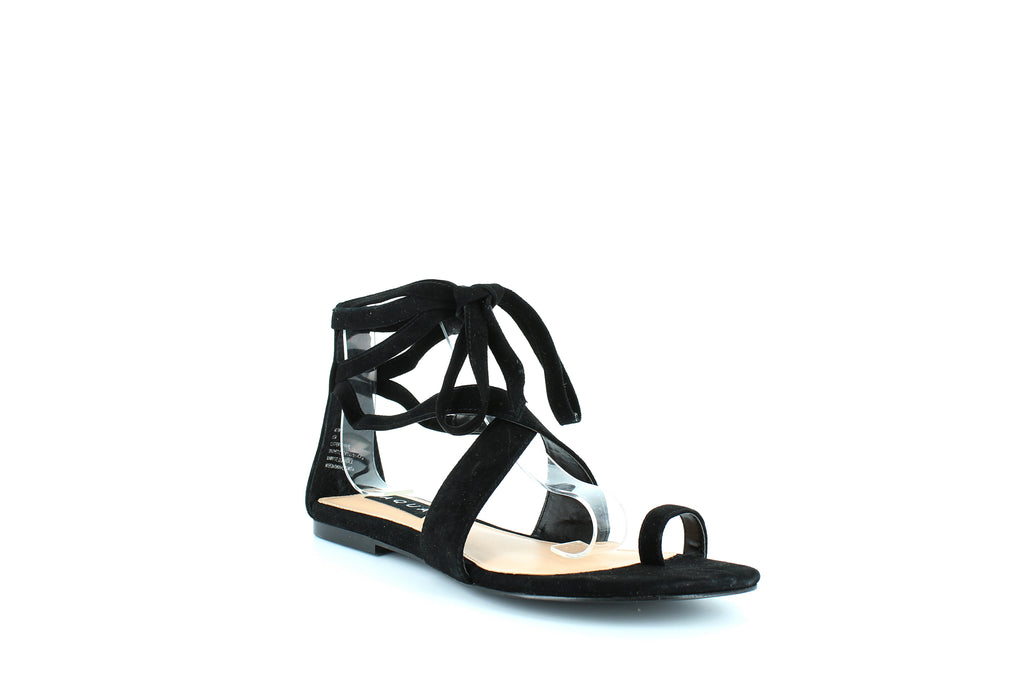 Yieldings Discount Shoes Store's Bay Flat Sandals by Aqua in Black Suede