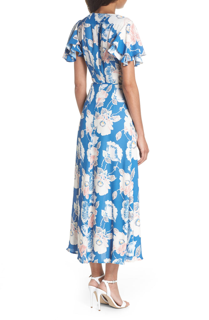 Yieldings Discount Clothing Store's Crepe Floral-Print Maxi Dress by French Connection in Blue
