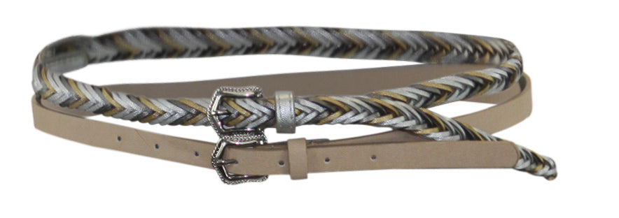 Yieldings Discount Accessories Store's 2-For-1 Solid & Braided Skinny Belts by INC in Blush