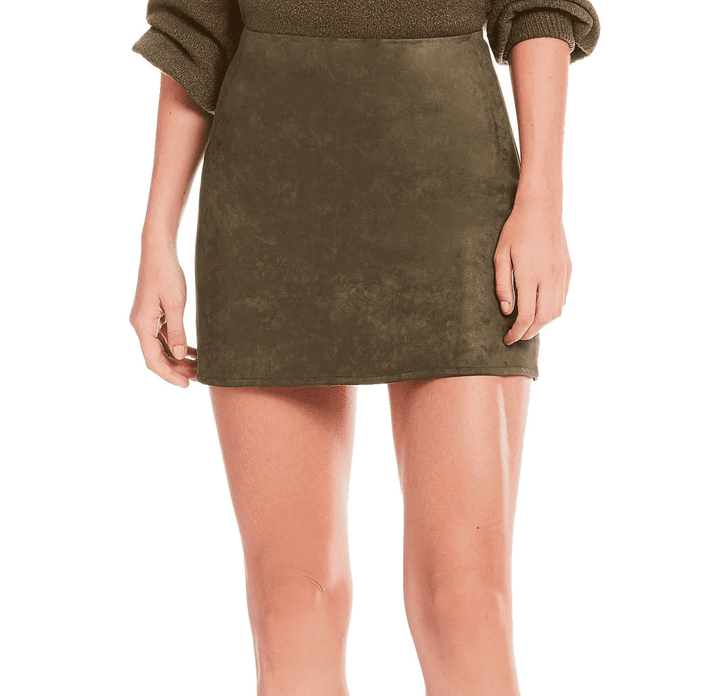 Yieldings Discount Clothing Store's Faux-Suede Mini Skirt by French Connection in Orca