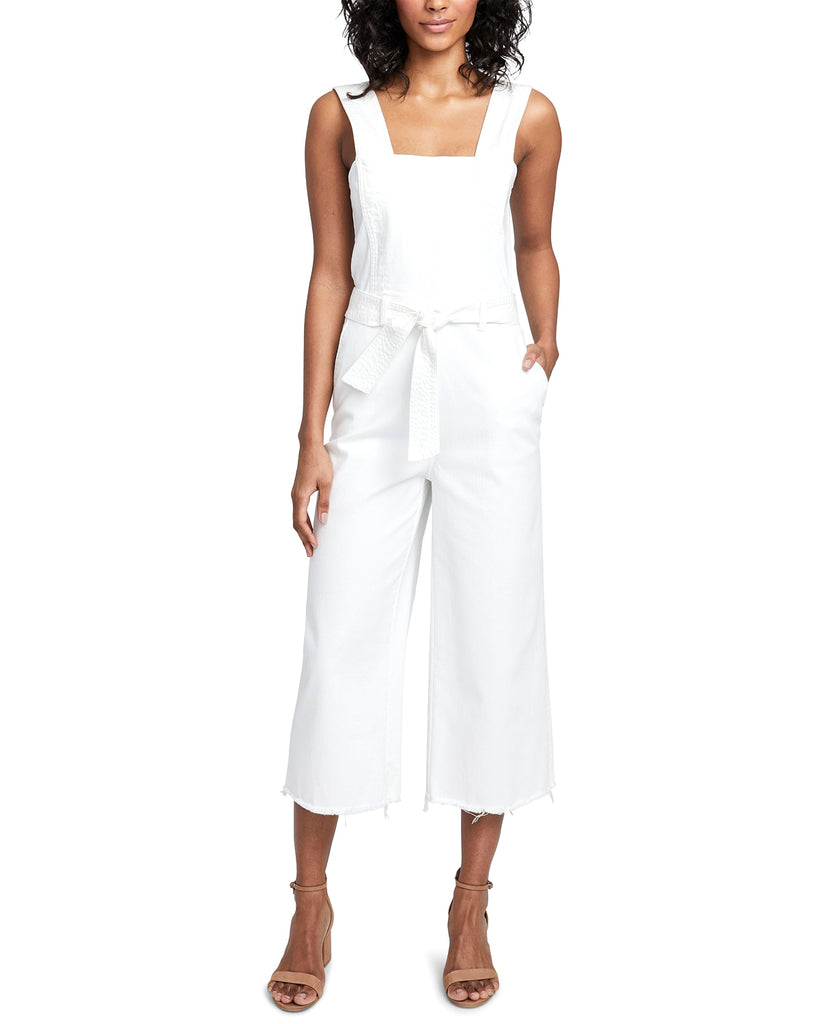 Yieldings Discount Clothing Store's Cotton Cropped Denim Jumpsuit by RACHEL Rachel Roy in White