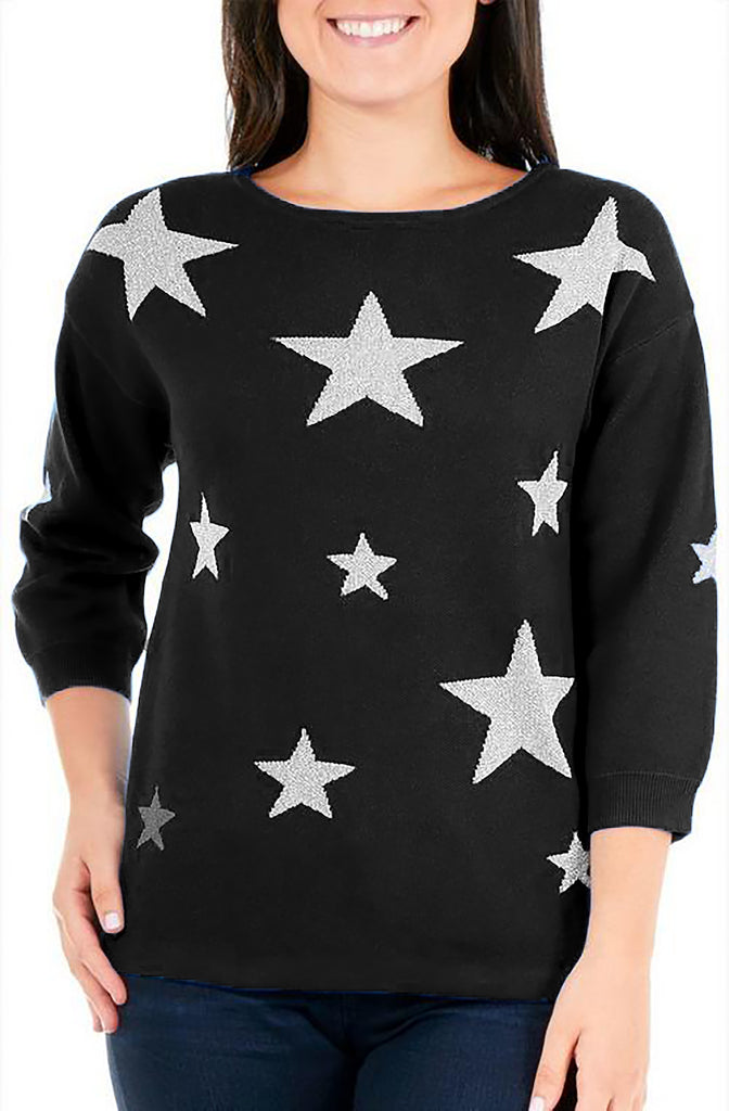 Yieldings Discount Clothing Store's Petite Glitter Star Sweater by NY Collection Petite in Shaylin