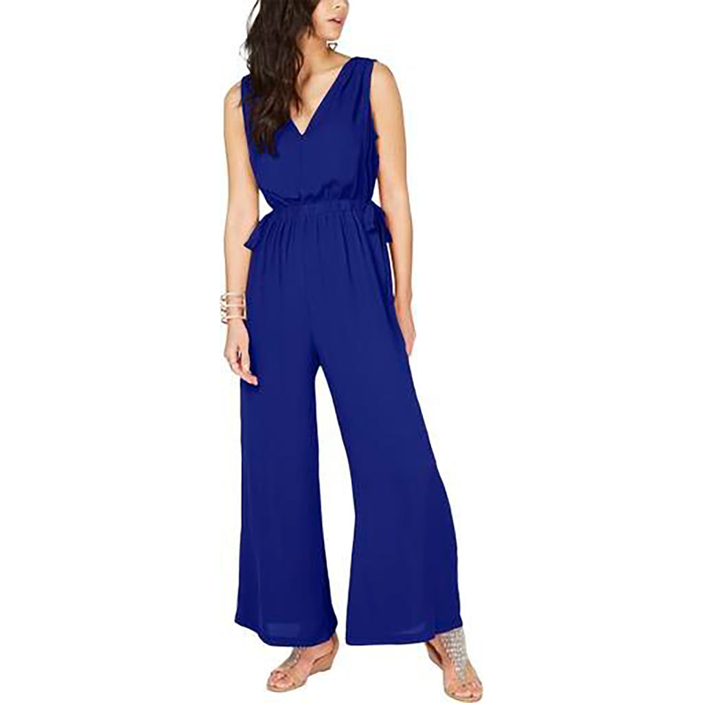 Yieldings Discount Clothing Store's Tie-Waist V-Neck Jumpsuit by Thalia Sodi in Lazulite