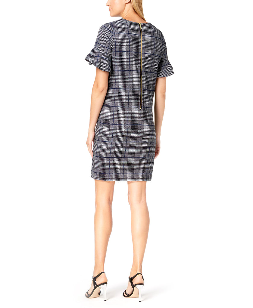 Yieldings Discount Clothing Store's Plaid Flutter-Sleeve Sheath Dress by Calvin Klein in Black Regatta